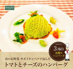 名取3月_春のお野菜-サボイキャベツで包んだトマトとチーズのハンバーグ